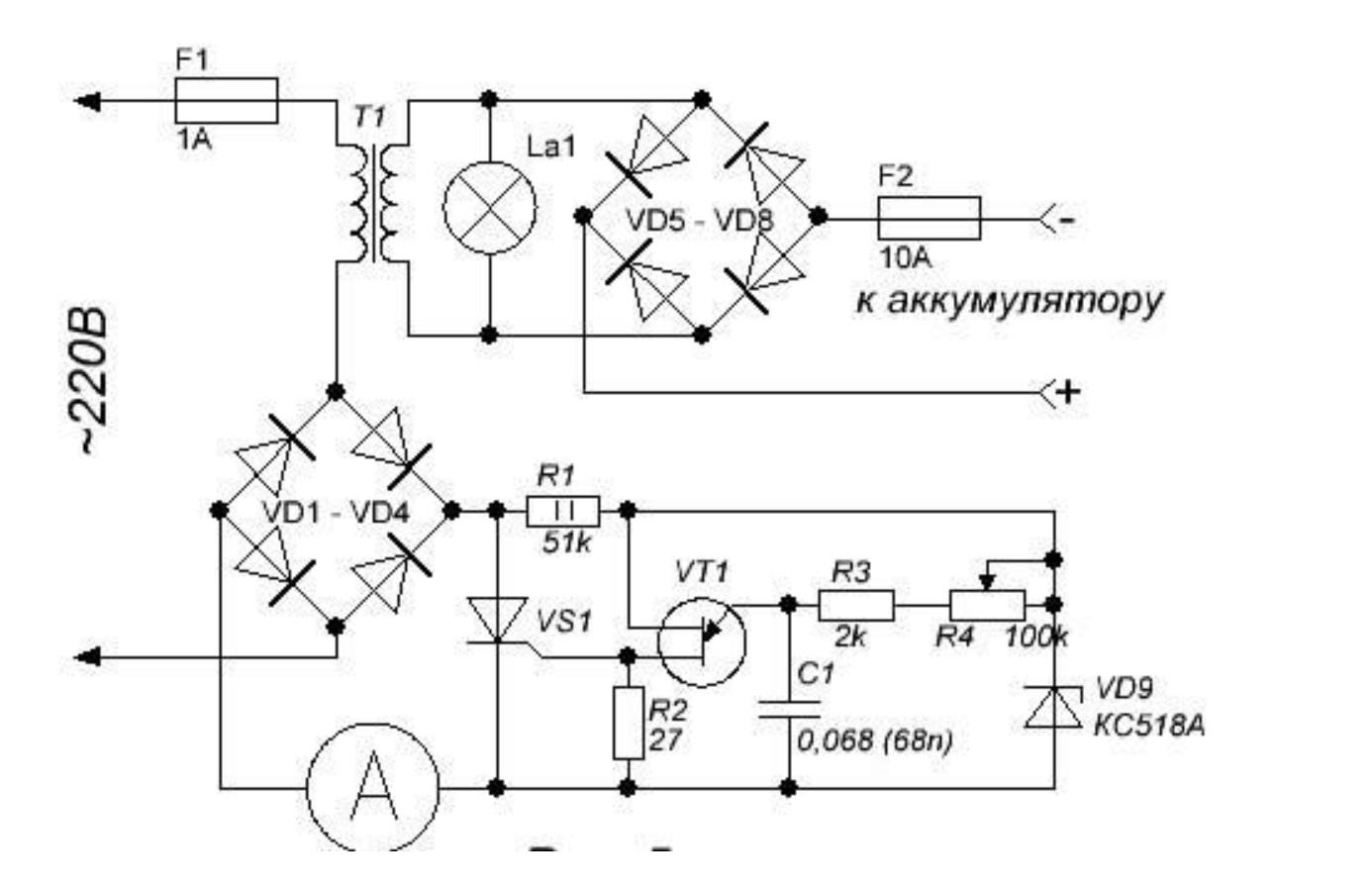 Самостоятельное изготовление простых зарядных устройств, выполненных на тиристоре